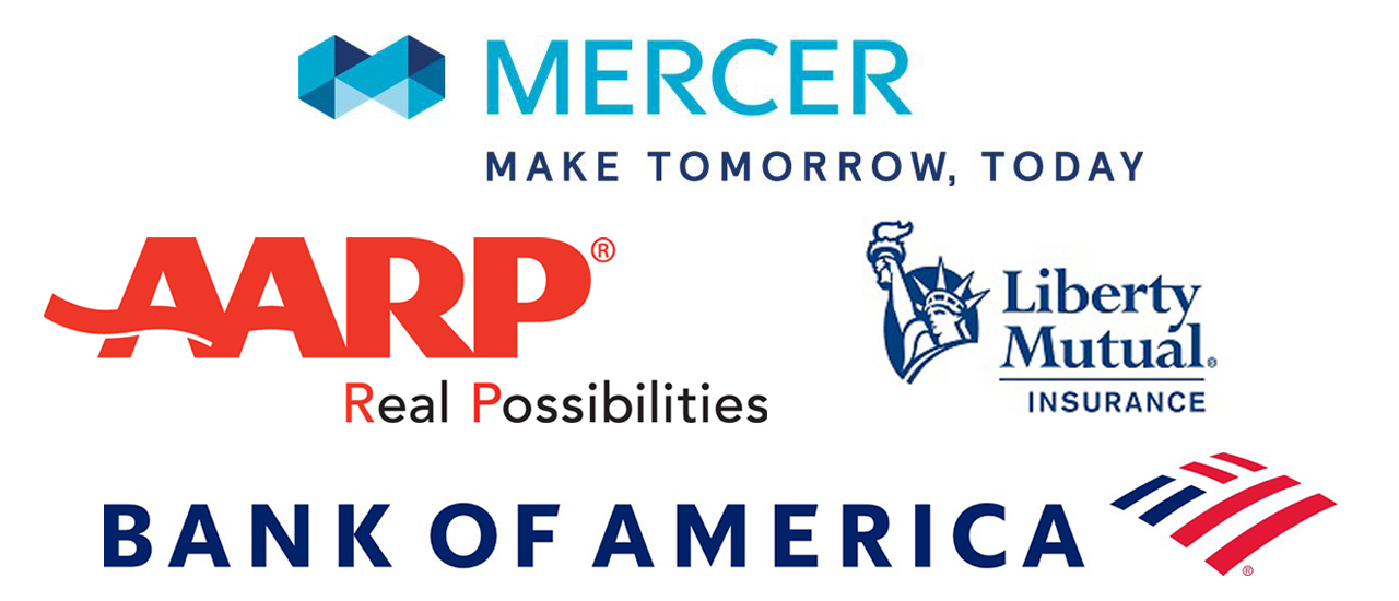 MAO Sponsor Logos - AARP, Bank of America, Liberty Mutual Insurance and Mercer