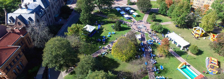Arial view of Seton Hall Weekend 2017.