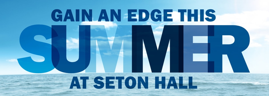 "Picture of Postcard thats says ""Gain an edge this summer at seton hall"" over a photo of the ocean"