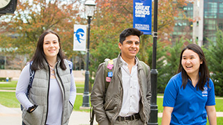 Seton Hall undergraduate students walking on the Seton Hall campus